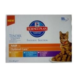 Hill's Feline Adult Chicken & Ocean Fish & Beef Optimal Care MULTIPAK saszetka 12x85g